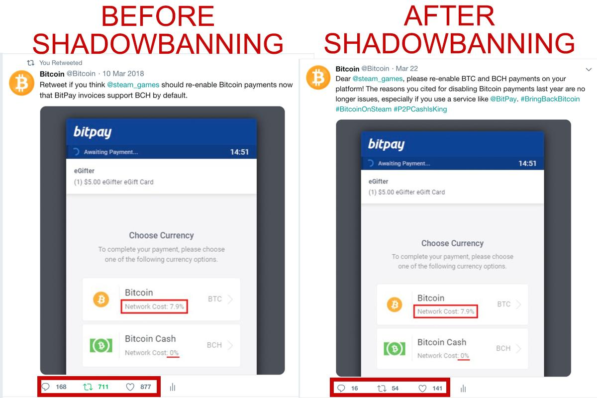 @bitcoin before and after shadowbanning